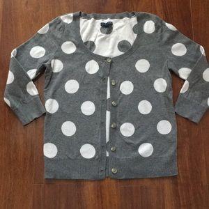 Juniors AE gray polka dot cardigan Medium